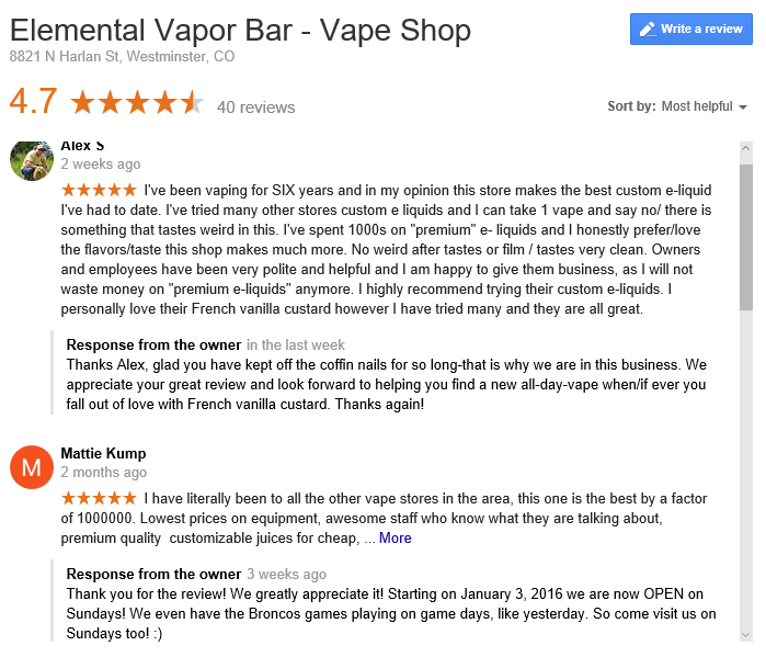 Elemental Vapor Bar Google Reviews